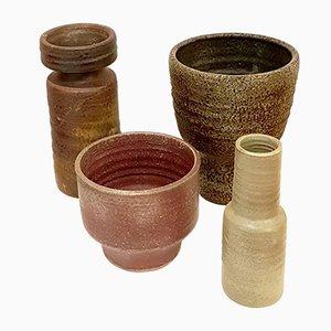 Niederländische Emaillierte Steingut Vasen von Mobach, 1970er, 4er Set