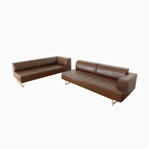 Leather Model Quadra Sofas from Poltrona Frau, Set of 2