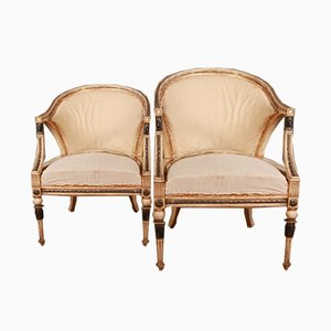 Antique Empire Style Swedish Armchairs, Set of 2