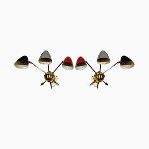 Farbige Italienische Vintage Wandlampen, 1950er, 2er Set