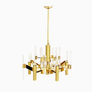 Crystal and Brass Chandelier by Gaetano Sciolari, 1970s