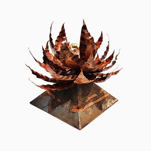 Copper Floral Table Lamp by Daniel D'Haeseleer, 1970s