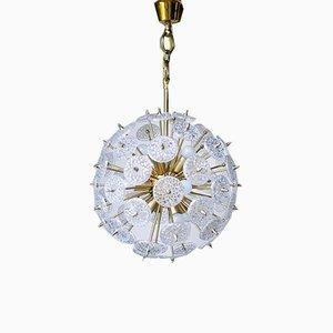 Mid-Century Messing & Kristallglas Sputnik Kronleuchter von Val Saint Lambert, 1970er