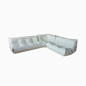 White Leather Living Room Set by Michel Ducaroy for Ligne Roset, 1970s, Set of 3