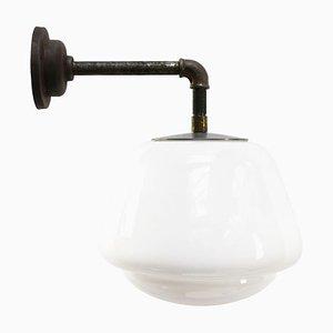 Applique Industrielle Vintage en Verre Opalin Blanc et Fonte