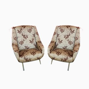 Mid-Century Brass and Velvet Lounge Chairs, 1950s, Set of 2
