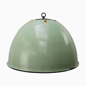 Vintage Industrial Light Green Enamel Pendant Lamp