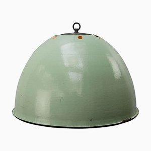 Lampe à Suspension Industrielle Vintage en Émail Vert Clair