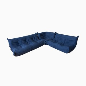 Blue Navy Togo Living Room Set by Michel Ducaroy for Ligne Roset, 1970s, Set of 3