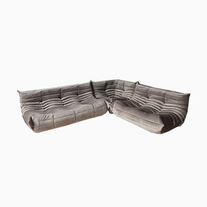 Elephant Grey Togo Living Room Set by Michel Ducaroy for Ligne Roset, 1970s, Set of 3