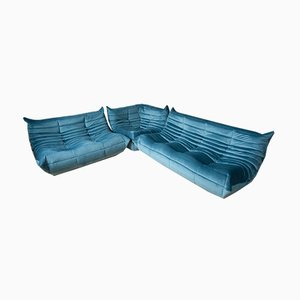 Meeresblaue Togo Samt Sitzgruppe von Michel Ducaroy für Ligne Roset, 1970er, 3er Set