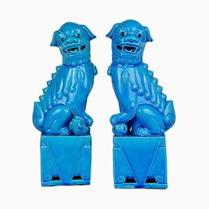 Blue Porcelain Foo Dog Sculptures, 1950s, Set of 2