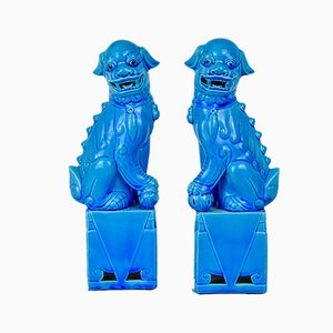 Blue Porcelain Foo Dog Sculptures, 1950s, Set of 3