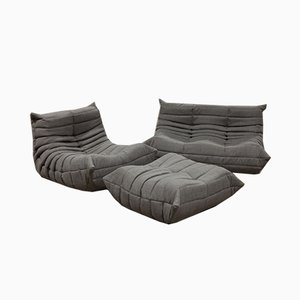 Vintage Grey Tissue Togo Living Room Set by Michel Ducaroy for Ligne Roset, 1970s, Set of 3