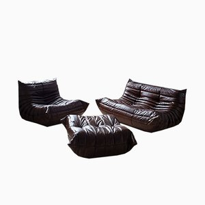 Vintage Dark Brown Togo Living Room Set by Michel Ducaroy for Ligne Roset, 1970s, Set of 3