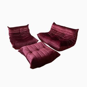 Vintage Velvet Burgundy Togo Living Room Set by Michel Ducaroy for Ligne Roset, 1970s, Set of 3