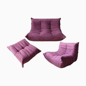 Vintage Aubergine Togo Living Room Set by Michel Ducaroy for Ligne Roset, 1970s, Set of 3