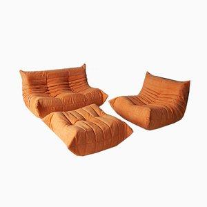 Vintage Orange Living Room Set by Michel Ducaroy for Ligne Roset, 1970s, Set of 3