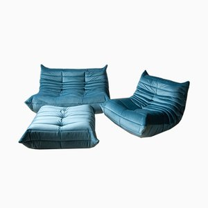 Vintage Blue Sea Togo Living Room Set by Michel Ducaroy for Ligne Roset, 1970s, Set of 3