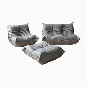 Leather Grey Togo Living Room Set by Michel Ducaroy for Ligne Roset, 1970s, Set of 3