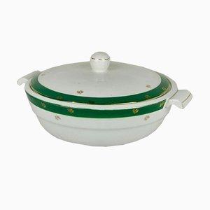 Terrine in Grün und Weiß von Digoin, 1960er