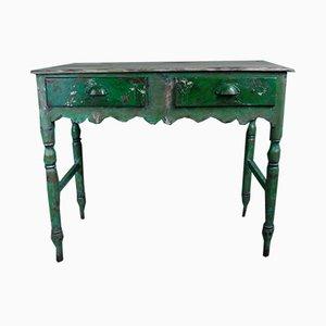 Table d'Appoint Peinte Verte et Grise, 1940s
