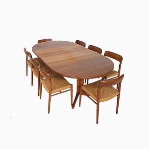 Modell 75 Esszimmerstühle von Niels Otto Møller für Skovby, 1960er, 8er Set