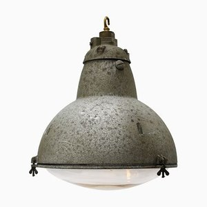 Vintage Industrial French Round Gray Metal and Clear Glass Pendant Lamp