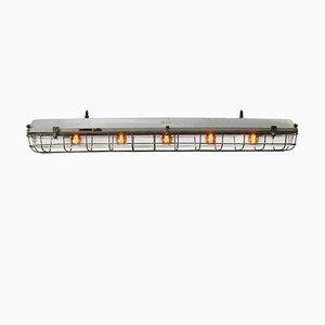 Vintage Industrial German Gray Metal and Clear Plexiglass Pendant Lamp