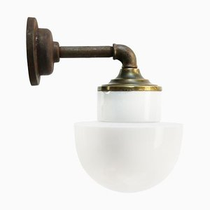 Vintage Industrial White Opaline Glass, Brass, and Cast Iron Sconce