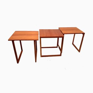 Teak Cube Nesting Tables by Kai Kristiansen for Vildbjerg Møbelfabrik, 1970s