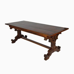 Antique Gothic Revival English Mahogany Dining Table, 1840s
