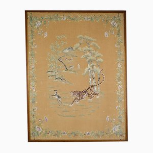 Large Antique Asian Silk Embroidered Tapestry of a Tiger Hunting a Deer, 1890s