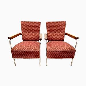 Bauhaus Armlehnstühle aus Verchromtem Stahl, Holz & Bezug, 1940er, 2er Set