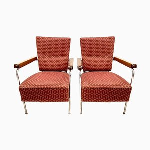 Bauhaus Tubular Chrome, Wood & Upholstery Armchairs, 1940s, Set of 2