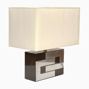 Mid-Century French Brown Formica and Chrome Table Lamp in the Style of Willy Rizzo, 1970s