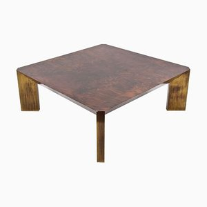 Mid-century Italian Burl Walnut and Brass Coffee Table by Willy Rizzo, 1970s