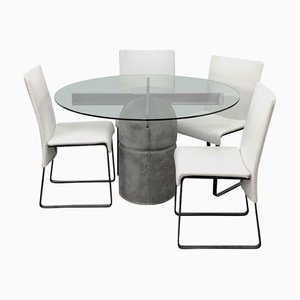 Mid-Century Dining Table & Chairs Set by Giovanni Offredi for Saporiti Italia, 1970s, Set of 5