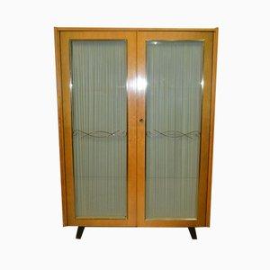 Mid-Century Glass Door Wardrobe, 1950s