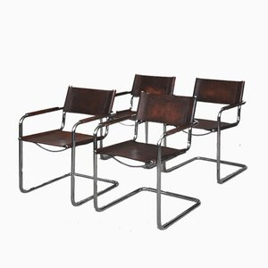 Bauhaus Leather Model MG5 Cantilever Side Chairs by Centro Studi for Matteo Grassi, 1960s, Set of 4