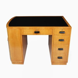 Art Deco Satin Birch and Leather Top Desk, 1930s