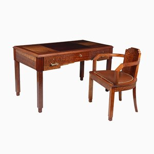 Art Deco French Desk and Chair Set, 1930s, Set of 2