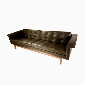 Sofa aus Schwarzem Leder & Holz von Karl-Erik Ekselius für JOC Vetlanda, 1960er