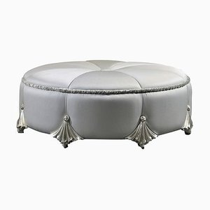 Round Pouf Silver on Wood from C.A Spanish Handicraft
