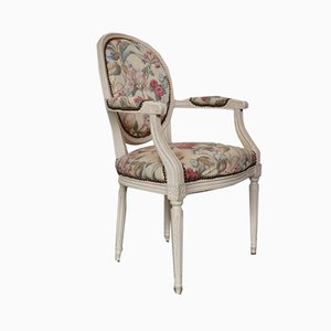 Vintage Louis XIV Style Ivory Lacquered Beech and Brass Studded Floral Fabric Armchair, 1970s