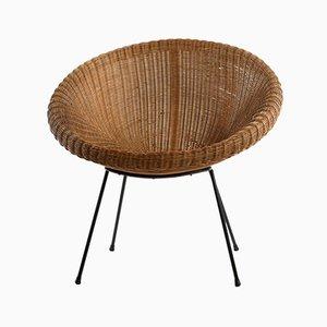Italian Rattan & Woven Wicker Nest-Shaped Lounge Chairs, 1950s, Set of 2