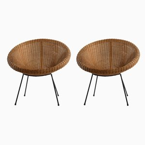Italian Rattan & Woven Wicker Nest-Shaped Lounge Chairs, 1950s, Set of 2