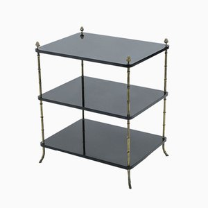 Black Lacquered & Brass Side Tables from Maison Baguès, 1950s, Set of 2