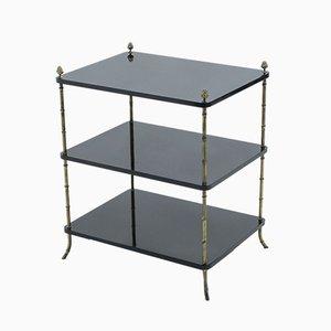Tables d'Appoint Laquées Noires en Laiton de Maison Baguès, 1950s, Set de 2