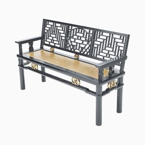 Antique Chinese Black Lacquered Wood & Gold Bench, 1900s